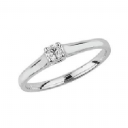 9ct White Gold 0.1ct Solitaire Diamond Ring Four Claw crossover style mount